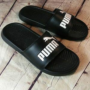Puma Shoes - Puma Popcat Black Women's Logo Shoe Slides